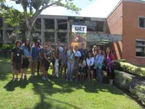 "NAPIRE 2014 students and staff in front of the ""CRO"", the Organization of Tropical Studies Headquarters"